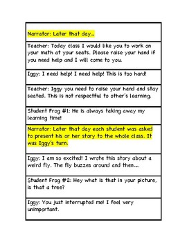 Respect for others and interrupting/ Reader's theater