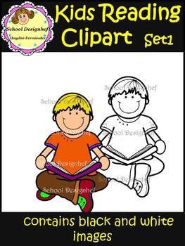 Kids Reading - Set1 - Clip Art (School Designhcf)