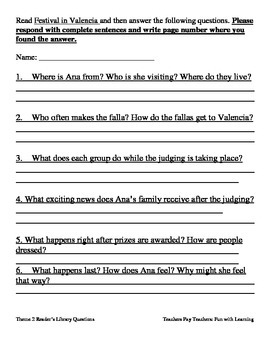 Reader's Library~3rd Grade~ Theme 2 Questions