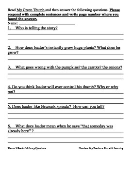Reader's Library~3rd Grade~ Theme 3 Questions