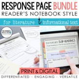 BUNDLE: Reading Response Pages *HALF-PAGE SET*