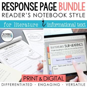 BUNDLE: Reading Response Pages *HALF-PAGE SET*