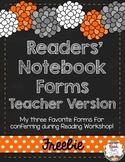 Readers' Notebook Forms - Teacher Version