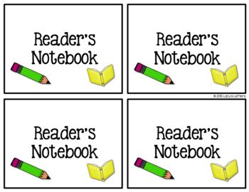 Reader's Notebook Label