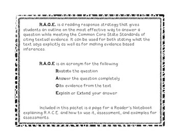 Reader's Notebook R.A.C.E: Responding to Reading Strategy