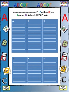 Reader's Notebook Word Wall Printable