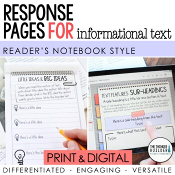 Reader's Notebook Response Pages for Informational Text *HALF-PAGE SET*