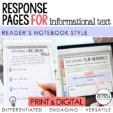 Reading Response Pages for Informational Text (PRINT & DIGITAL)
