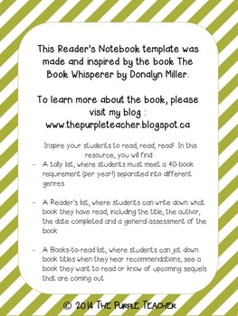 Reader's Notebook templates