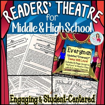 """Reader's Theater Performance """"Everyman"""" Script + Lessons Middle & High School"""