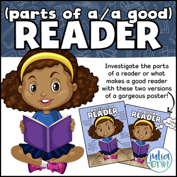 """Readers Poster Package - """"Parts of a Reader"""" and """"A Good Reader"""""""