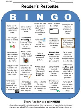 Reader's Response BINGO: Fiction