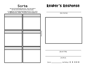 Reader's Response Booklet (with Word Work sorts)
