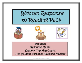 Reader's Response Choice Menu & Blackline Masters for use