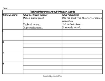 Readers' Response Guide: Making Inferences About Unknown Words