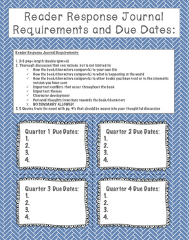 Reader's Response Journal Activity: Requirements and Due Date Calender Included!