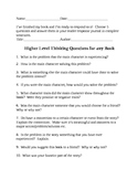 Readers Response Journal Higher Level Question Prompts Common Core