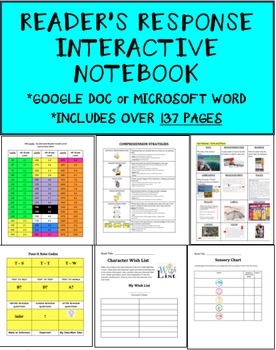 reader s response interactive notebook google doc formatted