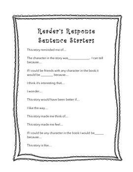 Reader's Response Sentence Starters