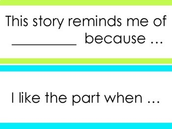 Reader's Response Sentence Starters Set #1