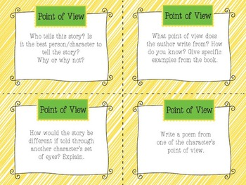 Reader's Response Task Cards for ANY Fiction Book