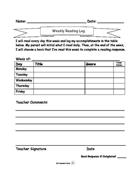 Reader's Response Weekly Reading Log and Blank Response (Fiction or Non-Fiction)