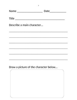 Reader's Response Worksheets