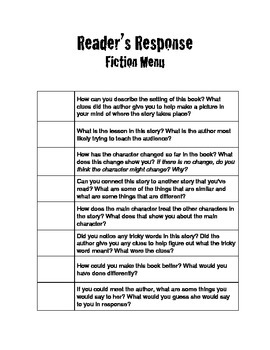 Reader's Response Writing Prompts (for Reading Response Journals)