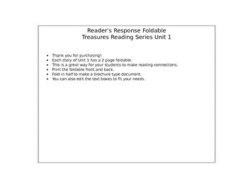 Reader's Response for Treasures Unit 1