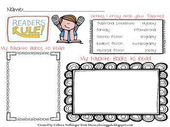 Readers Rule! Back to School Reading Preferences Graphic Organizer
