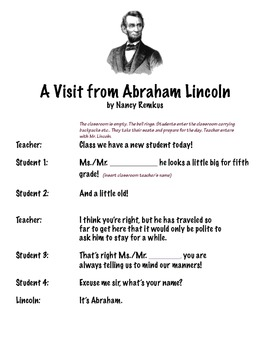 """Abraham Lincoln Class Play: """"A Visit from Abraham Lincoln""""-Fun and Interactive!"""