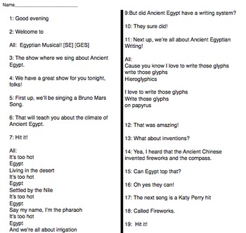 Reader's Theater: Ancient Egyptian Musical