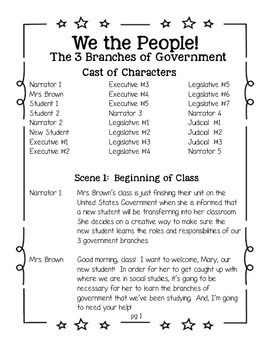 Reader's Theater:  Branches of Government (intermediate grades)