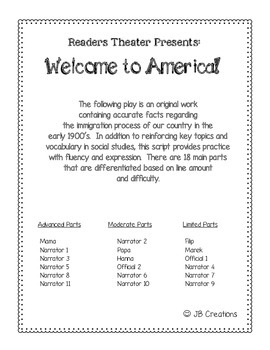 Reader's Theater:  Immigration-Welcome to America! (with 3 reading levels)