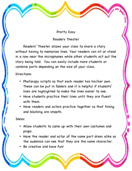 Readers' Theater Plays - early readers - topics include kindness and bullying