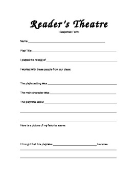 Reader's Theater Response Log Form - Plays Intermediate or Primary - Fluency ELA