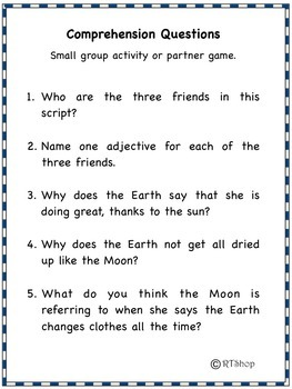 Readers' Theater Script, Reading-Science Integration -The Sun,The Moon,The Earth
