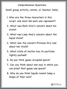 Reader's Theater Script: Reading-Science Center, States Of Matter