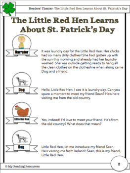 Readers Theater Script: The Little Red Hen Learns About St. Patrick's Day
