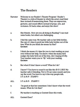 Reader's Theater Script-  The Readers