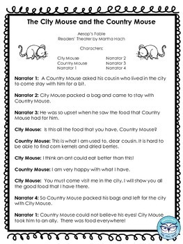 The City Mouse and the Country Mouse Readers' Theater Activity Pack
