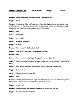 Readers Theater Script for Froggy's Day with Dad