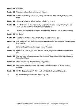 Readers Theater Script for July 4th.  History of July 4th.
