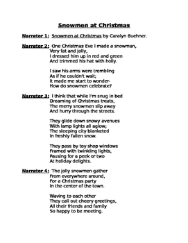 Readers' Theater- Snowmen at Christmas