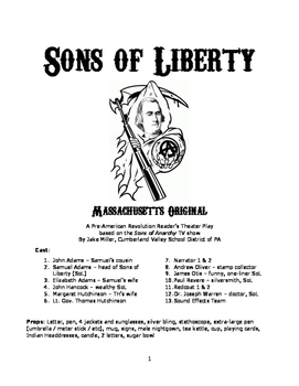 Reader's Theater Play - Sons of Liberty: Massachusetts Original