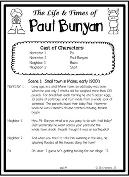 photo about Printable Tall Tales identify Guests Theater: Tall Story of Paul Bunyan (differentiated scripts!)