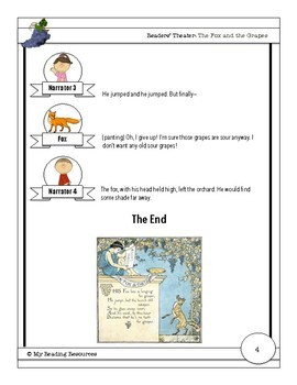 Readers' Theater Script: The Fox and the Grapes, An Aesop's Fable