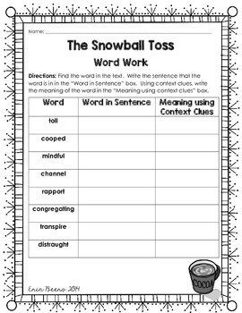 Reader's Theater: The Snowball Toss Reading Literature Toolkit  for Grades 4-8