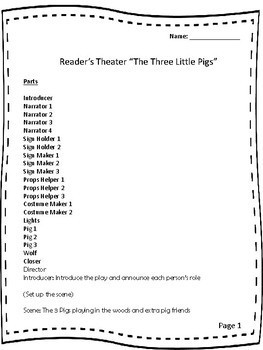 """Readers Theater """"The Three Little Pigs"""""""