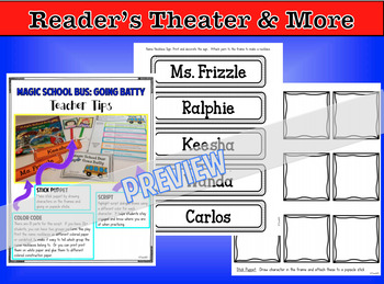 Readers Theater There Was an Old Lady, Magic School Bus Going Batty, Task Cards